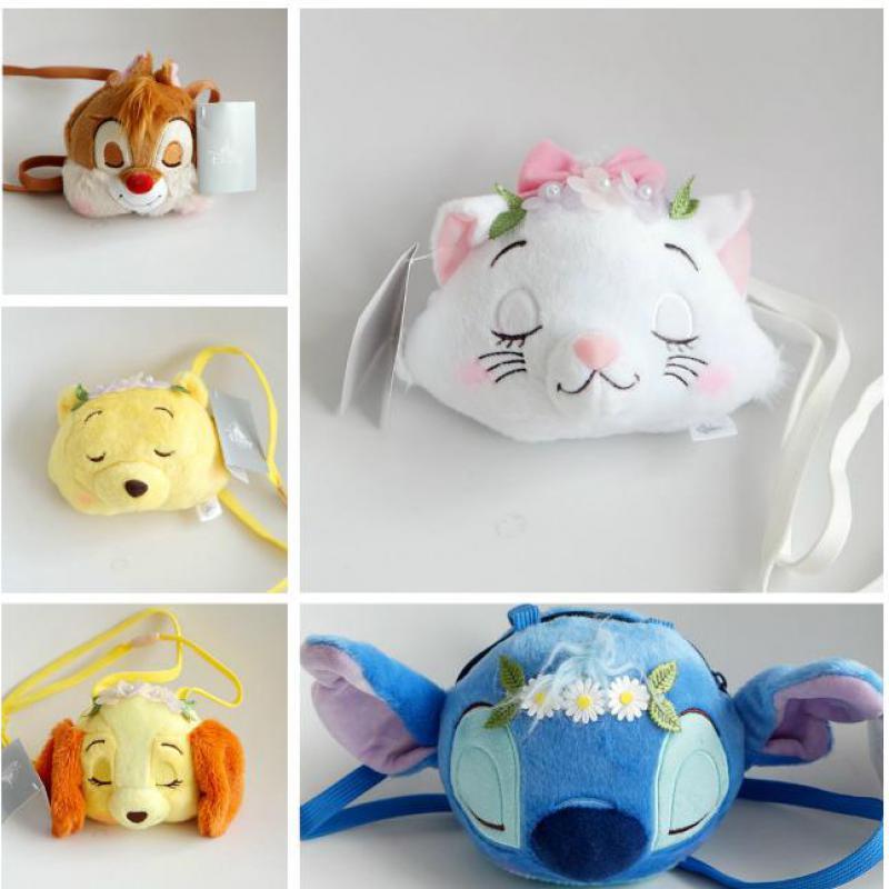 DisneyPINK winne bear head shoulder Bag Coin bag phone bag Wallet Plush Toy