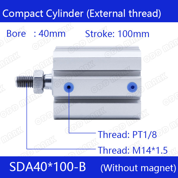 SDA40*100-B Free shipping 40mm Bore 100mm Stroke External thread Compact Air Cylinders Dual Action Air Pneumatic Cylinder sda100 100 b free shipping 100mm bore 100mm stroke external thread compact air cylinders dual action air pneumatic cylinder