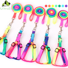 ULTRASOUND PET Dog Colorful Nylon Harness With Lead Leash Control Restraint Cat Puppy Soft Walk Vest For Small Dogs