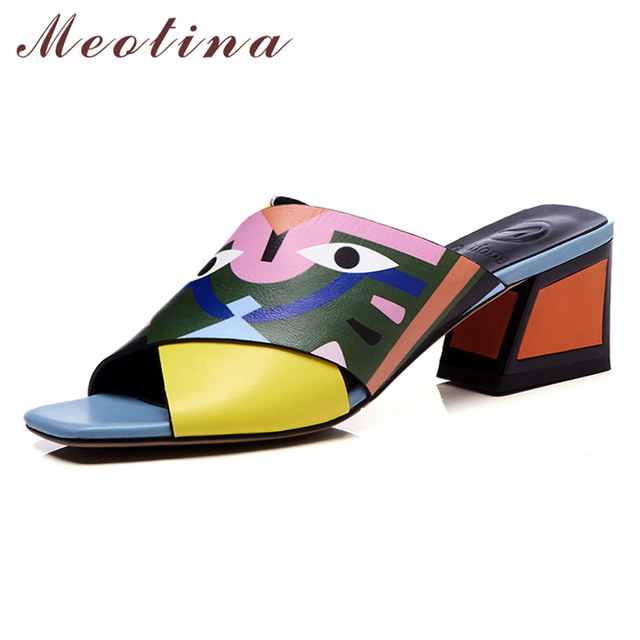 Meotina Sheepskin Slippers Women Shoes Natural Genuine Leather Square High Heels  Sandals Open Toe Shoes Lady Summer Plus Size 43 00e7e46acd9a