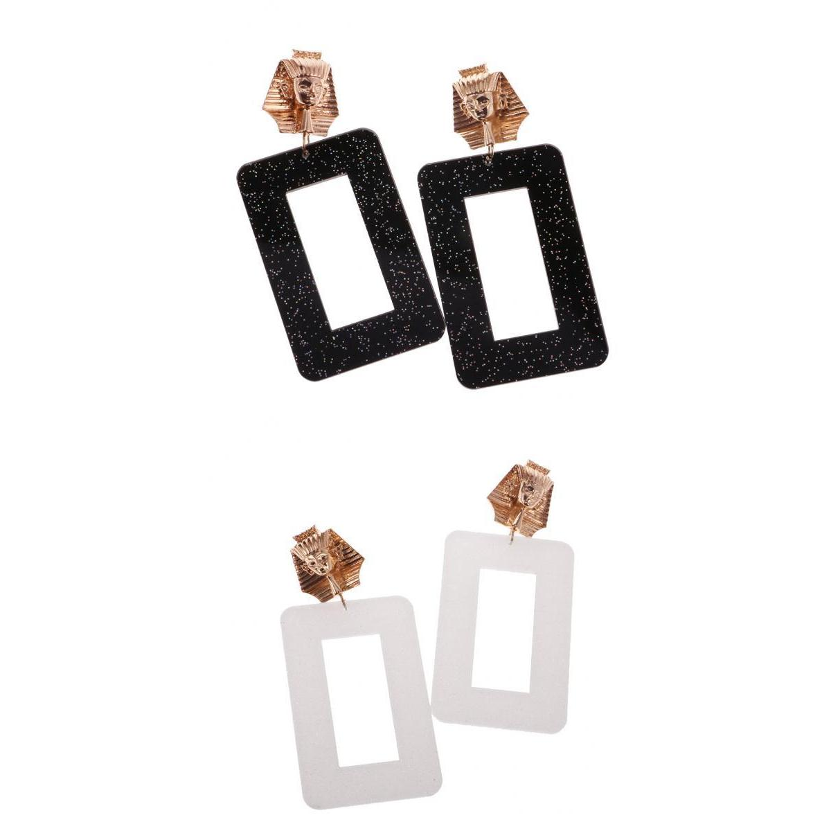 2 Pieces Hiphop Punk Rock Exaggerate Rectangle Geometry Ancient