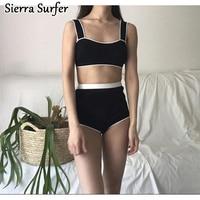 Tankini Swimsuits Women Plus Size Swimwear Woman Bathing Suit Push Up Top 2018 Summer New Korean White Knitted High Waist