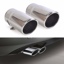 DWCX 2X STAINLESS STEEL EXHAUST TAIL REAR MUFFLER TIP PIPE TAILPIPE For VW Passat B6 2006 – 2009 2010 Passat CC Free Shipping