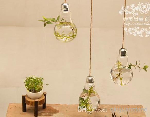 Wholesale Fashion Home Decor 2pcs Glass Vase Home Decoration Two Hanging Bulb Vase Decorative Design