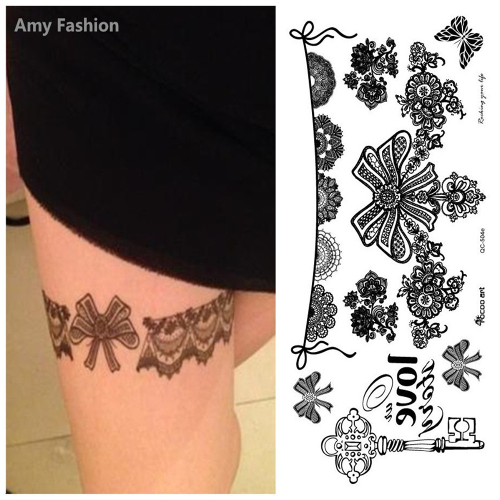 1Pc Black Lace Temporary Tattoo Bracelet Wrist Tattoos Designs Transferable Flash Tatoo Long Lasting Fake Body Tattoo New Arrive
