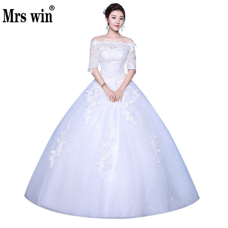 2020 New Cheap Wedding Dresses Mrs Win Ball Gown Elegant Princess Wedding Dress Plus Size Vestido De Noiva Robe De Mariee F