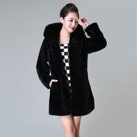 2017 Winter Overcoat Fake Fur Plus Size XXXL Long Coat Women basic coats Hooded fourrure Black Warm Elegant Outer clothing