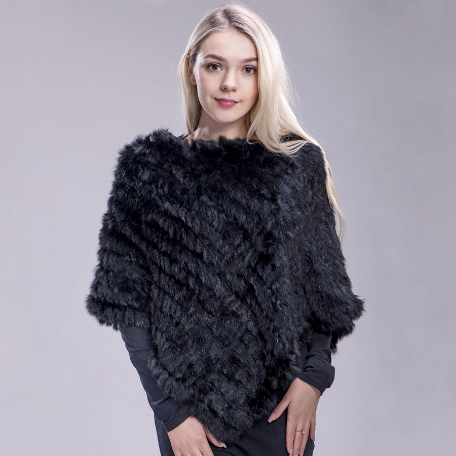 100/% Brand New Real Rabbit Fur Wrap Shawl Poncho Outwear Coat For Women Ladies