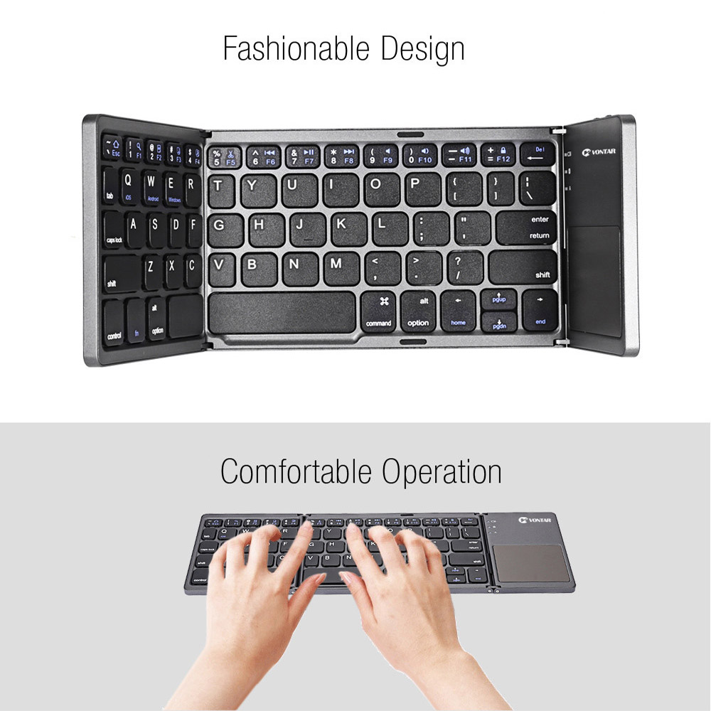 Image 5 - VONTAR Portable Folding Russian Wireless keyboard bluetooth Rechargeable BT Touchpad Keypad for IOS/Android/Windows ipad Tablet-in Keyboards from Computer & Office