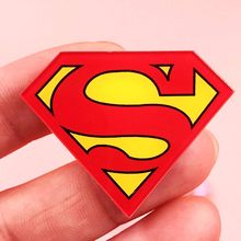 1PCS Super man logo Acrylic Brooch Badges Decoration pins girls boys Backpack Clothes Decorative Brooch Fashion Broche Kids gift(China)