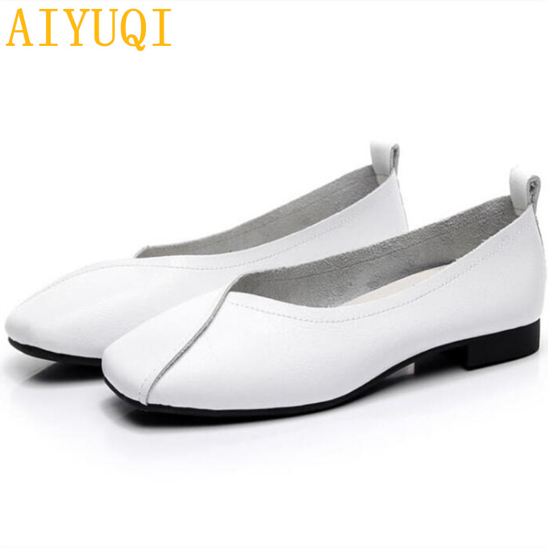 AIYUQI Women's casual shoes 2019 new autumn genuine leather women flat shoes onon-slip Plus Size 35-43 mother flat shoes