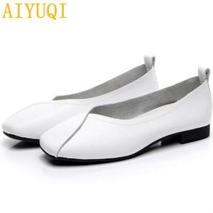 Image 5 - AIYUQI flat shoes  2020 new autumn genuine leather women flat shoes onon slip Plus Size 35 43 Women casual shoes