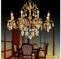 Free Shipping D680mm H630mm Bronze Finished K9 Crystal Chandelier Lighting Luxurious Brass Crystal Lamp Lustre Suspension Light