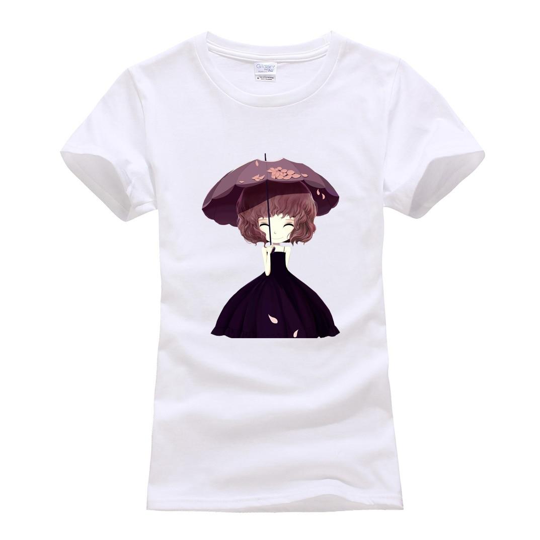 cartoon beautiful girl printing tops slim style hot sale t shirts for women 2019 summer brand t shirt short sleeve cotton tshirt