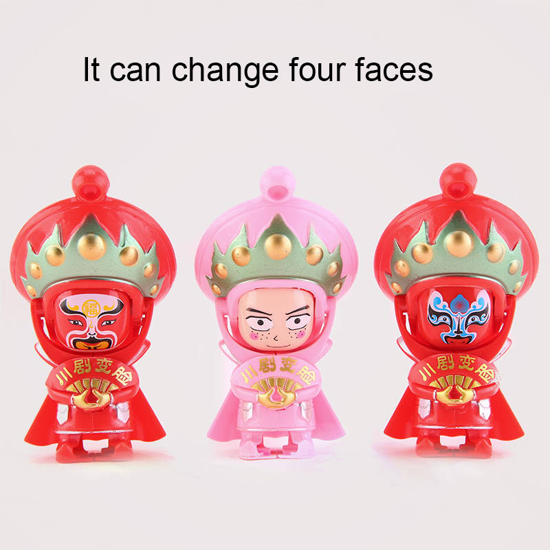 1Pcs Multicolors Peking Opera Doll Change Four Faces Plastic Doll Toys Sichuan Opera Face Changing Doll Toys Antique Gift image