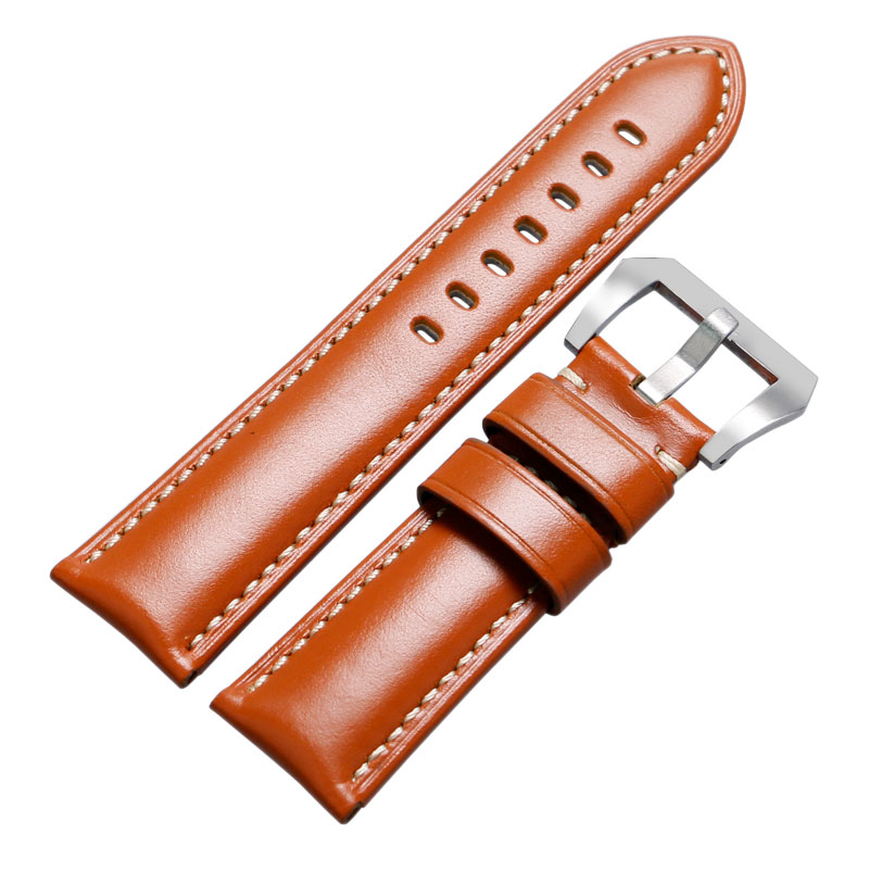 24mm 26mm Smooth Brown Genuine Leather Watch Band Pin Buckle High Quality Durable Wrist Watch Strap with Spring Bars Wholesale 22 24mm silicone pin buckle wristwatch band mens womens watch strap high quality jd0108