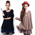 Mulheres inverno solto malha dress manga comprida vestidos chiffon costura vestidos dress plus size