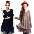 Women Winter Loose Knitted Dress Long Sleeve Dresses Chiffon Stiching Vestidos Dress Plus Size