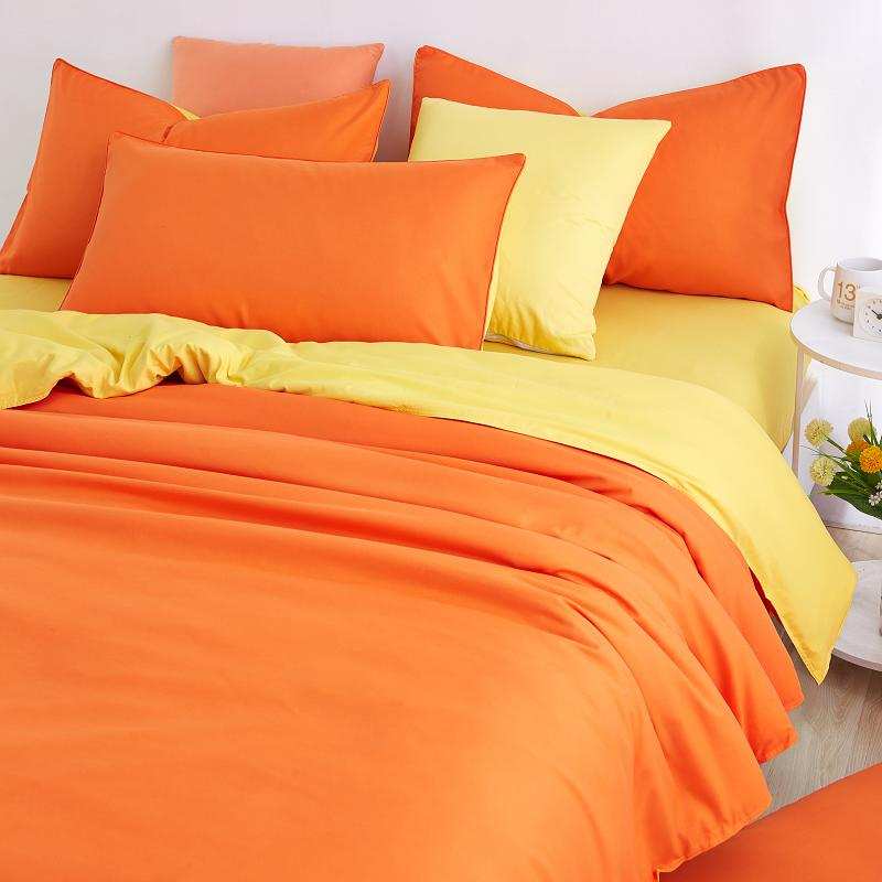 Slowdream Orange And Yellow Solid Bedding Set Comforter Duvet Cover Active Printing Bed Linen Home Textiles Multi Sizes In Sets From