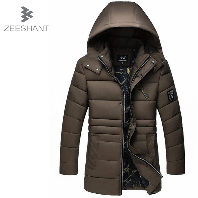 ZEESHANT Super Thick Cotton Padded Coat Winter Jacket Men Long Black Thick Warm Casual Hooded Male Snow Coat Chaquetas Hombre