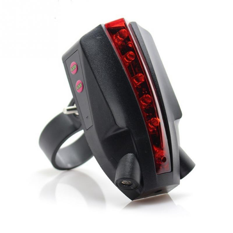 Bicycle Indicator LED Rear Tail Light USB Wireless Remote Control 2 Laser Tackle