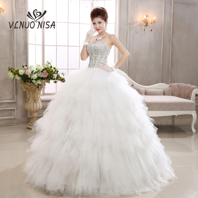 Vestido De Noiva Elegant Wedding Dress Strapless Backless Lace Up Beading Sequin Puffy Ball Gown Bridal Dress Robe De Mariee 20