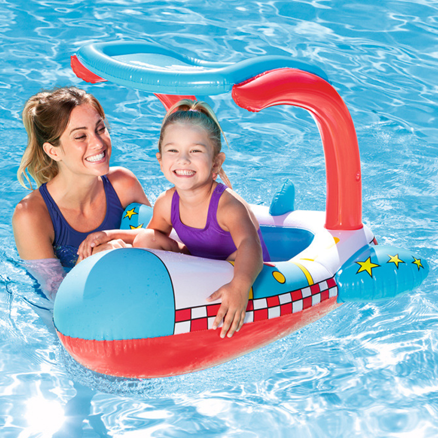 Aircraft Shape Plastic Safe Inflatable PVC Baby Infant Swimming Seat Float Adjustable Sunshade Seat Swimming Pool Accessories