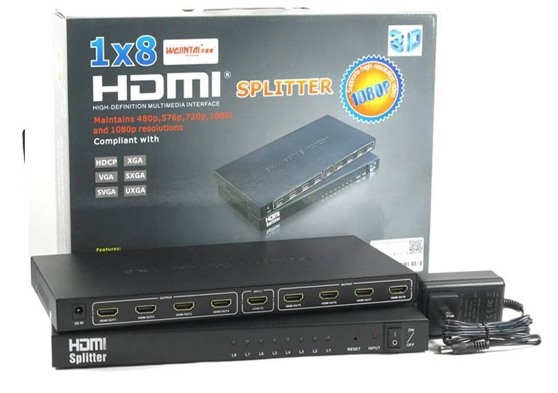 8 Port 1x8 1 In 8 Out HDMI Splitter Amplifier Audio Video 1080P HD HDTV 3D DVD Support 3D 4K*2K