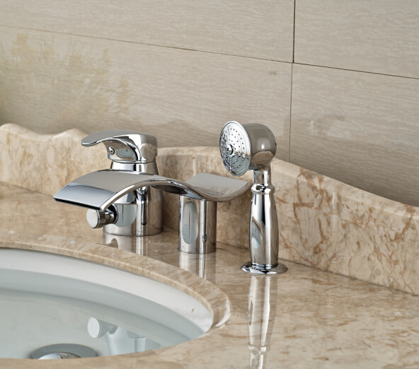 Deck Mounted Shape Tub Faucet 3pcs Hot&Cold Luxury Bathroom Tap Waterfall Faucet automatic sensor deck mounted bathroom waterfall faucet for cold and hot faucet tap new