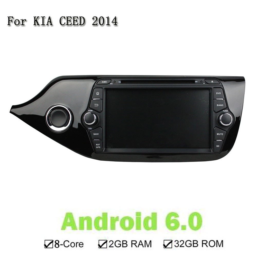 8 Inches Car Stereo Audio Radio Android 6.0.1Octa Core Touch screen Car DVD Player GPS Navigation For Kia CEED 2014