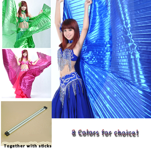 Image 2 - 2019 Hot Selling Popular Women Egyptian Belly Dance Isis Wings Golden Belly Dancing Wing with Telescopic Rod stick on sale