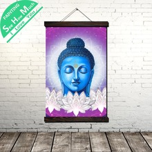 Buddah Poster Design Gardenia Scroll Painting Canvas Vintage and Prints Wall Art Pictures Bedroom Farmhouse Decoration