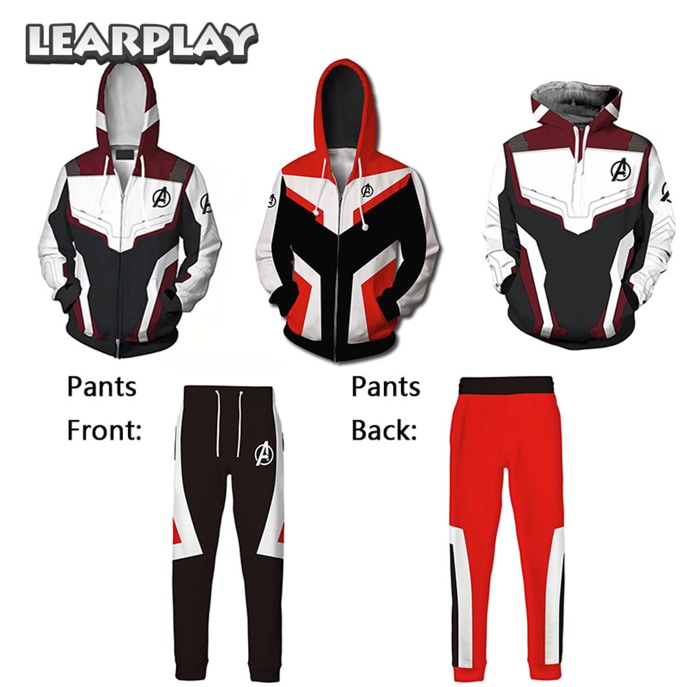 Endgame Hoodies Pants Advanced Tech Suits Super Hero Quantum Realm Cosplay Adults 3D Print Zipper Hooded Sweatshirts Men Jacket