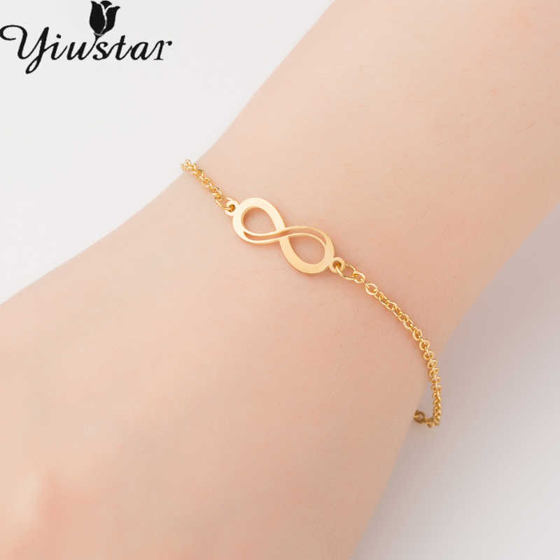 0869f782e3 Yiustar Gold Eternity Infinity Stainless Steel Bracelets for Women Girls  Endless Lovers Pendant Love Jewelry Girt