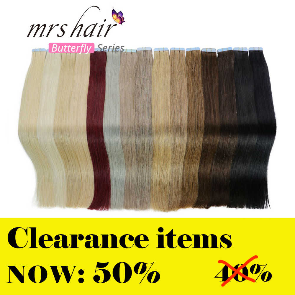 "MRS HAIR Tape In Human Hair Extensions  14""-24"" Non Remy Hair On Tape PU Skin Weft Seamless Human Hair 20pcs"