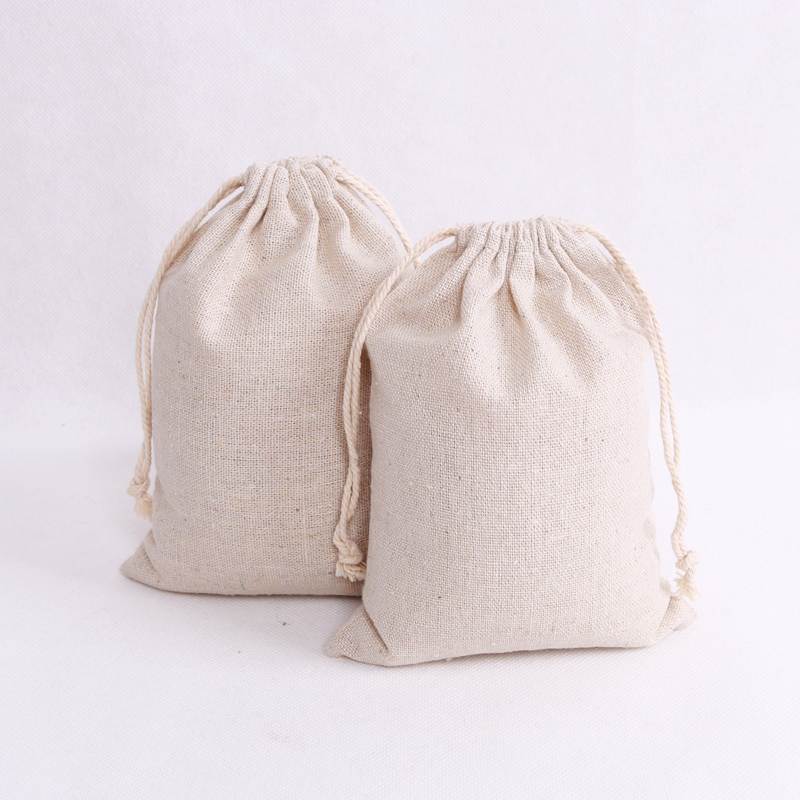 10pcs/lot Natural Cotton Bags 8x10 9x12 10x14cm Small Drawstring Gift Bag Muslin Charms Gifts Jewelry Packaging Bags Pouches
