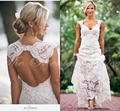 Rustic Floral Lace Boho Wedding Dress Cap Sleeve Country Style Gipsy Wedding Dresses ackless Beach Bridal Gowns Vestido de Novia