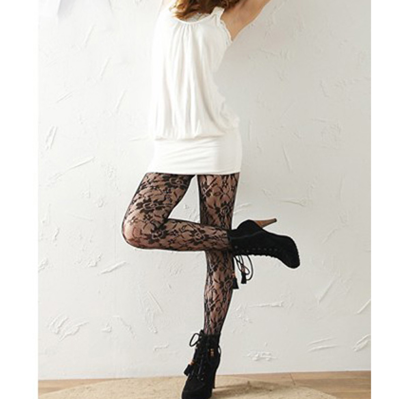 New Fashion Lady Tights Stockings Sexy Women Floral Rose Lace Pantyhose Ladies Mesh Tights Pantyhose Women LB