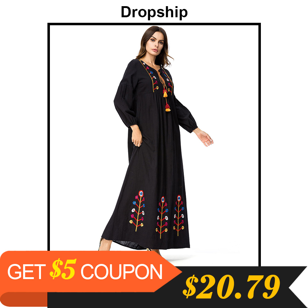 Dropship Chic Floral Embroidery O Neck Maxi Long Dress Autumn Fall 2018 Fashion Moslim Long Sleeve High Waist Tassel Dresses