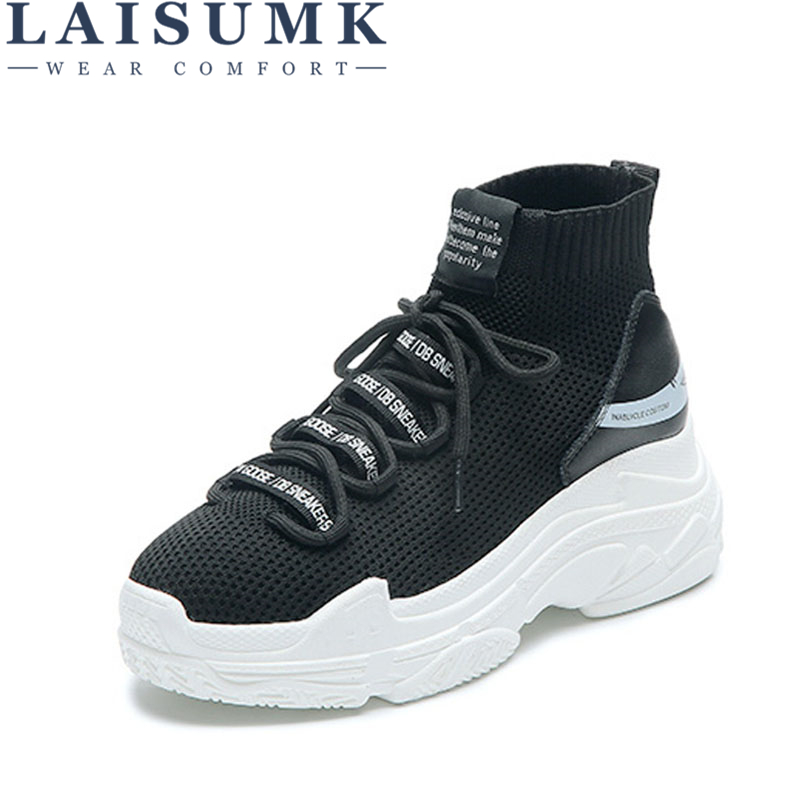 LAISUMK Shark Logo High Top Sneakers Women Knit Upper Breathable Sock Shoes Thick Sole 5 CM Fashion Sapato Feminino Black /White