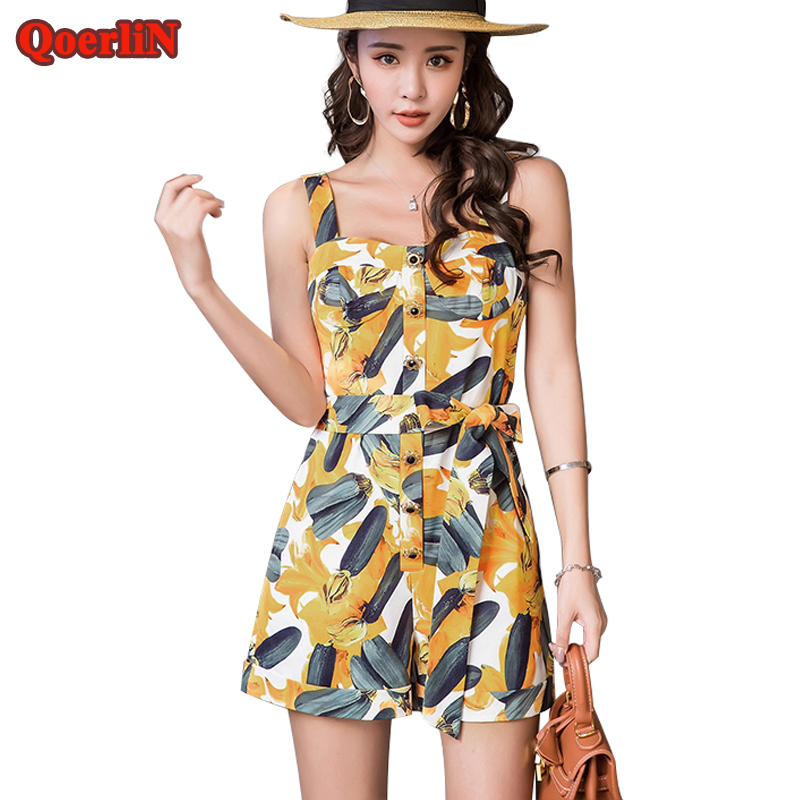 QoerliN 2018 Summer Beach Printed Loose Casual Jumpsuits Women Beading Bandage Romper Female Plus Size Overalls Girls Playsuits