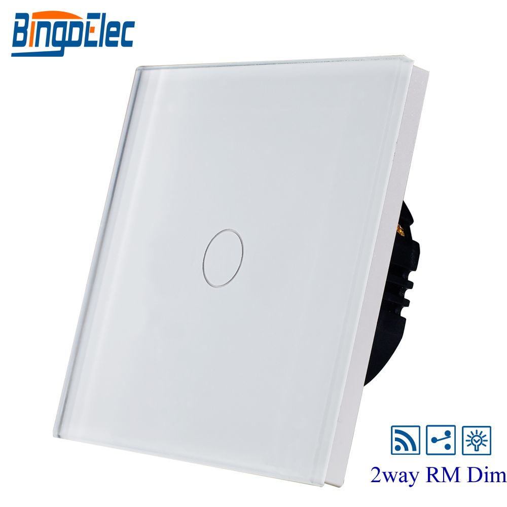 BINGOELEC EU/UK,black toughened glass panel 1gang 2way remote dimmer light switch,touch wall switch,AC110-240V 2gang 2way white crystal toughened glass panel touch switch sensor light switch