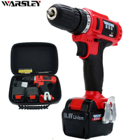16 8V Cordless Rechargeable Screwdriver Double Speed Lithium Battery Screwdriver Mini Waterproof Electric Drill 2 Batteries