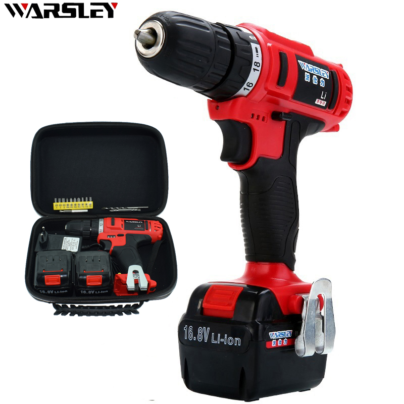 16.8V Cordless Rechargeable Screwdriver Double Speed Lithium Battery Screwdriver Mini Waterproof Electric Drill 2 Batteries wosai 20v lithium battery max torque 380n m 4 0ah brushless electric impact wrench diy cordless drill cordless wrench