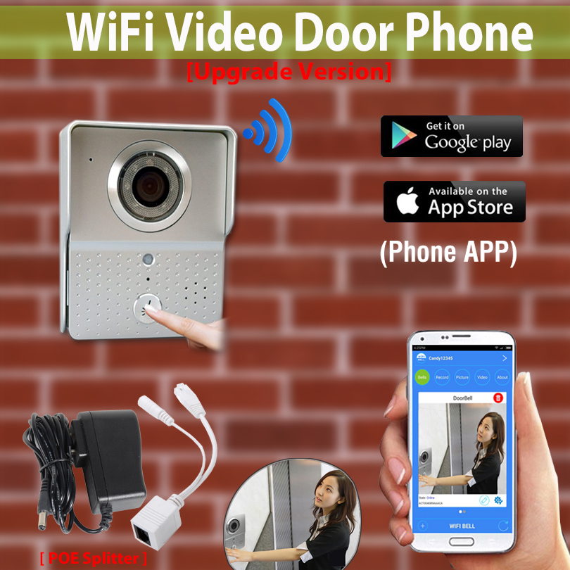 [Upgrade Version] Wireless Wifi Doorbell Camera IP Video Door Phone Intercom system for android/ IOS cell Phone intercom unlock 2016 new wifi doorbell video door phone support 3g 4g ios android for ipad smart phone tablet control wireless door intercom