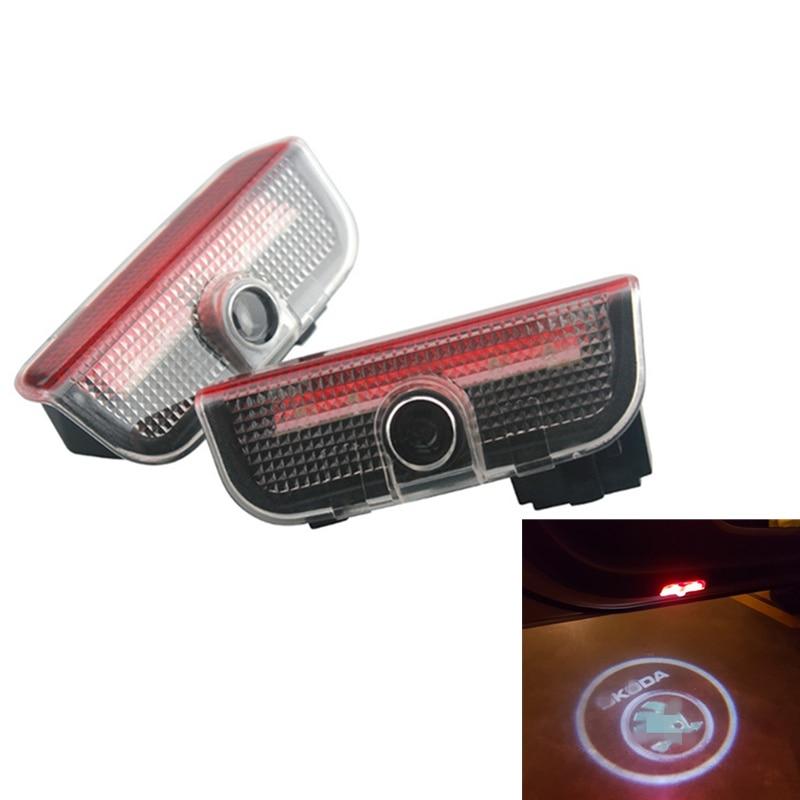 2Pcs No Drill LED Car Door Laser Projector Logo Ghost Shadow Welcome Light For Skoda Superb 2009-2015 Octvia Octavia 2004-2008