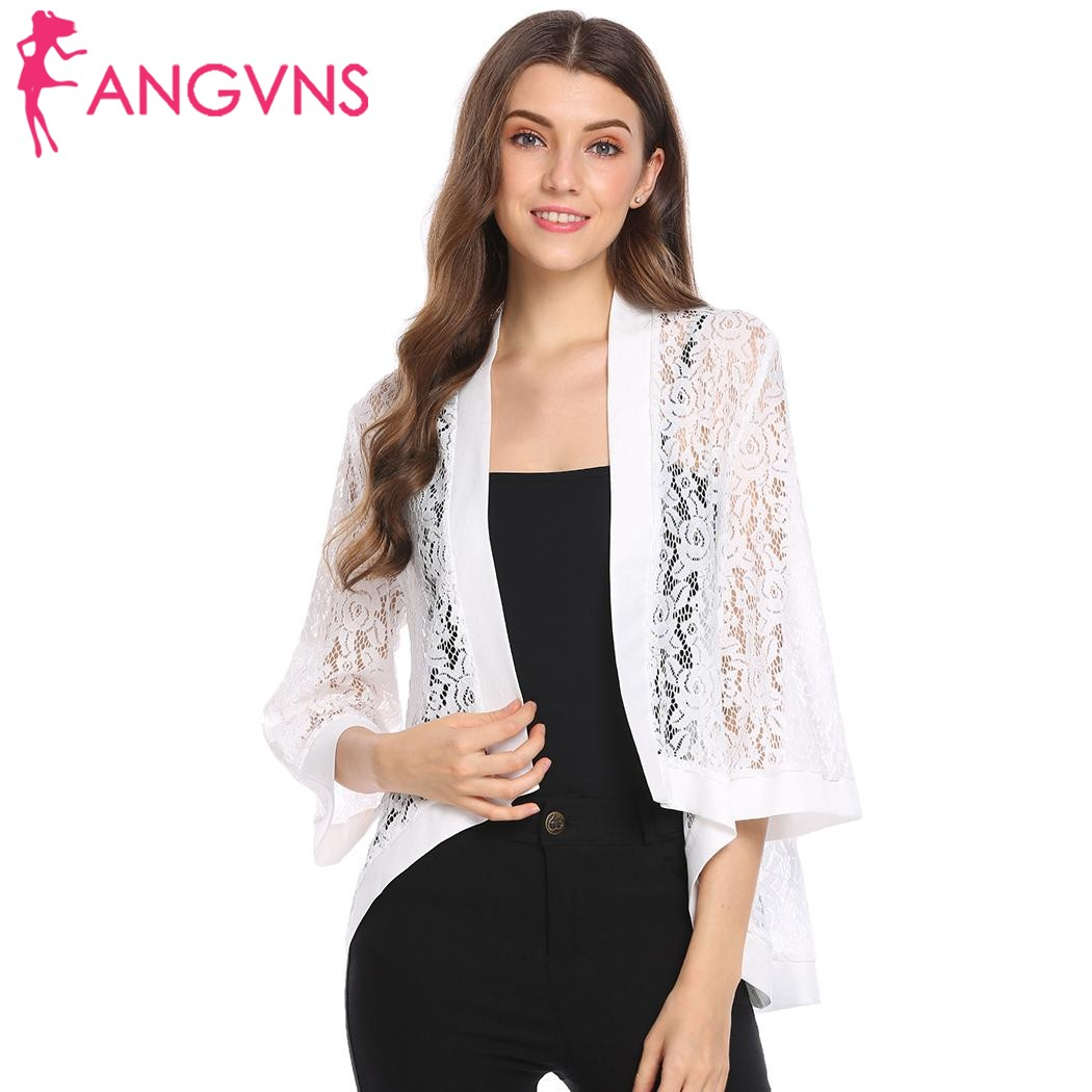 ANGVNS Women Kimono Cardigan Lace Hollow out Feminino Open Stitch Floral Casual Flare Sleeve Loose All-Match Cardigan mujer Tops