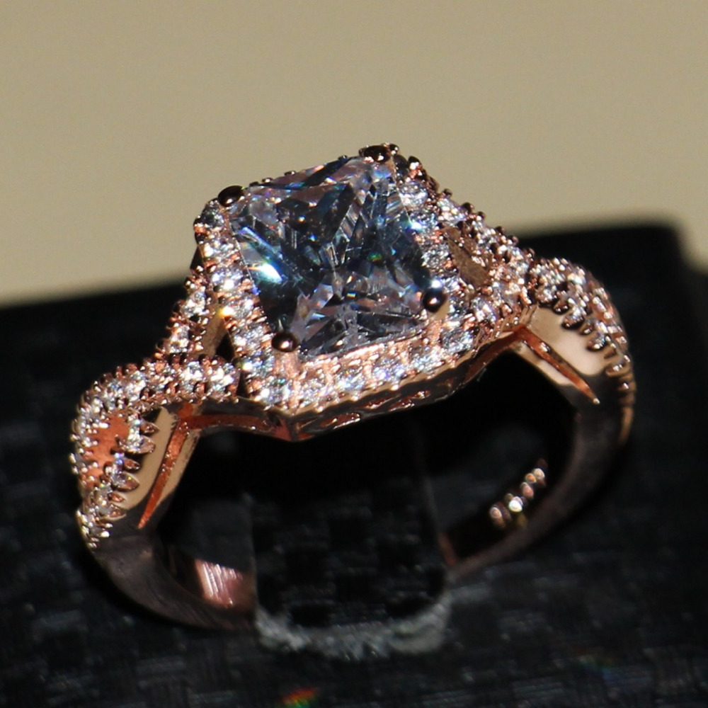 Victoria Wieck Princess cut Cute Jewelry 925 sterling silver Rose gold filled CZ stones Women Engagement