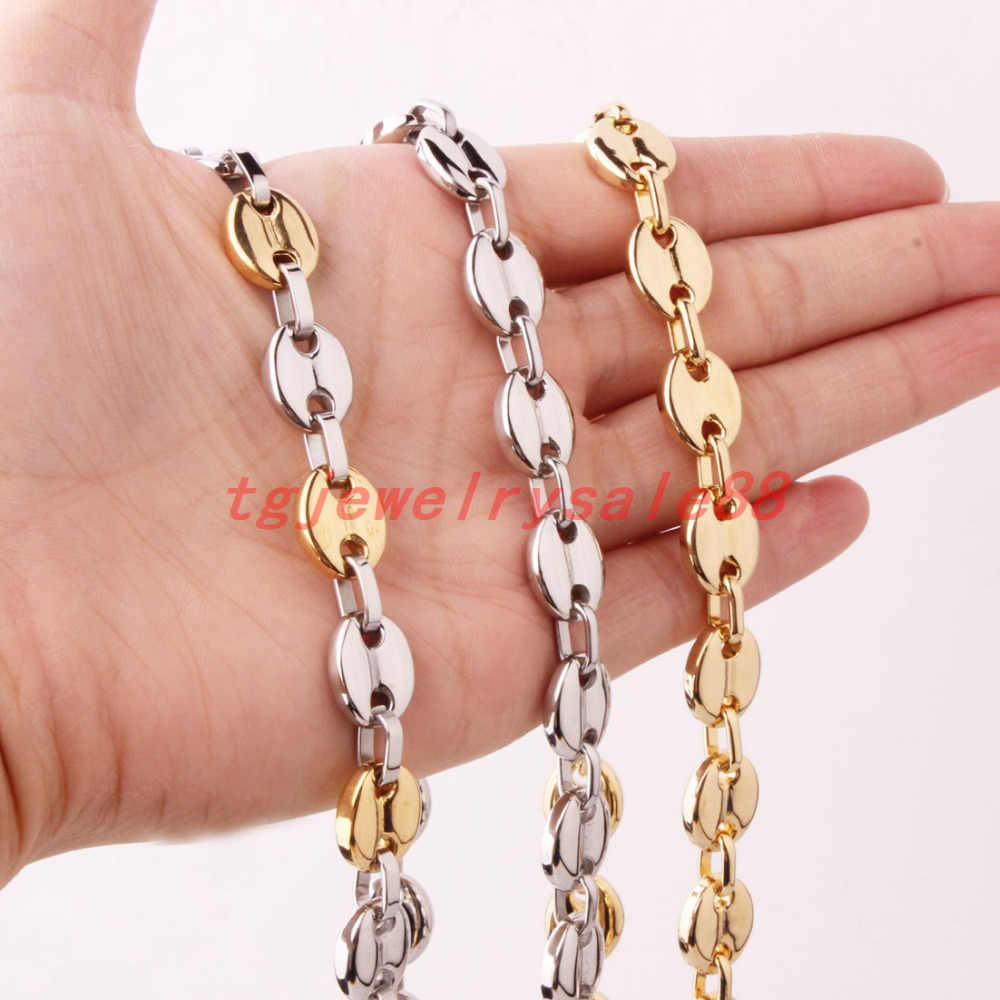 7/9/11mm Fashion Stainless Steel Coffee Beans Link Chian Necklace Or Bracelet Men's Silver Gold Color Custom Size Jewelry 7-40""