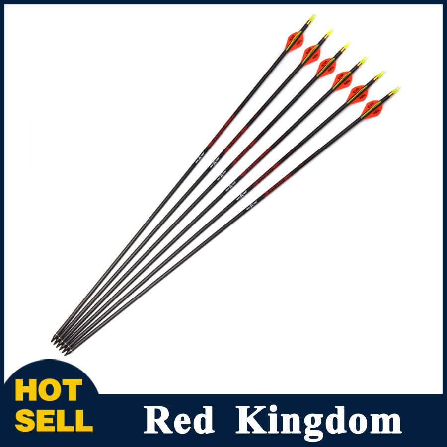 6/12/24 pcs 3K Weave Pure Carbon Arrow Length 30 Inches Spine 340 for Compound/Traditional Bow Archery Hunting Shooting